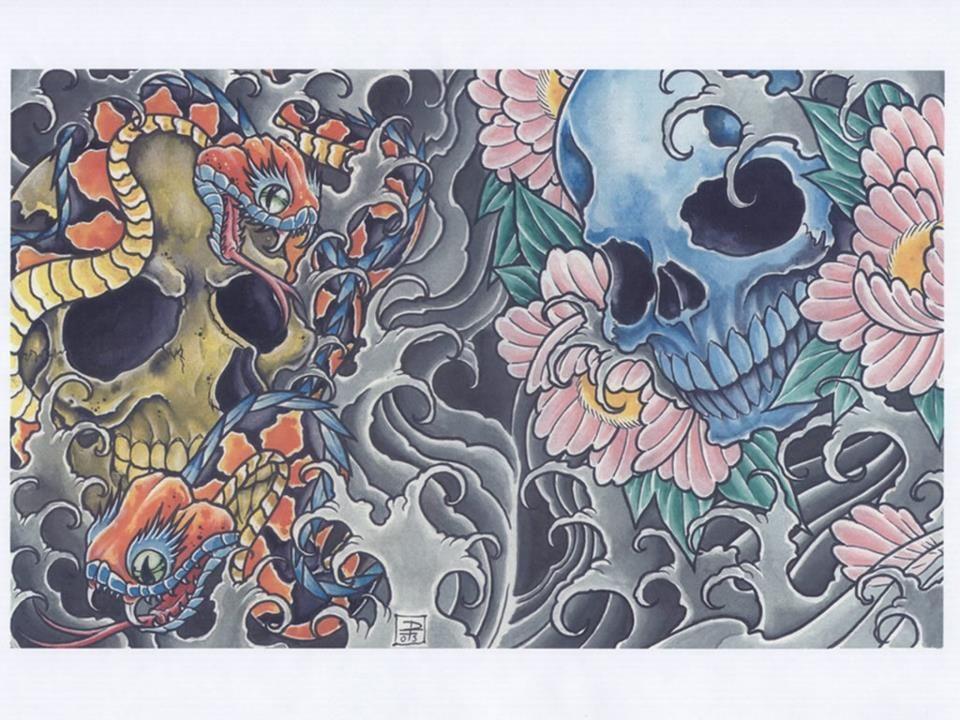 Japanese Tattoo With Skulls Skull Tattoo Flowers Flower