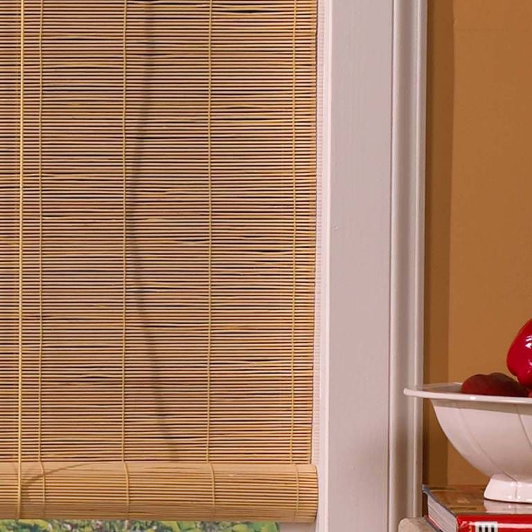 blinds roll blind up brown bamboo