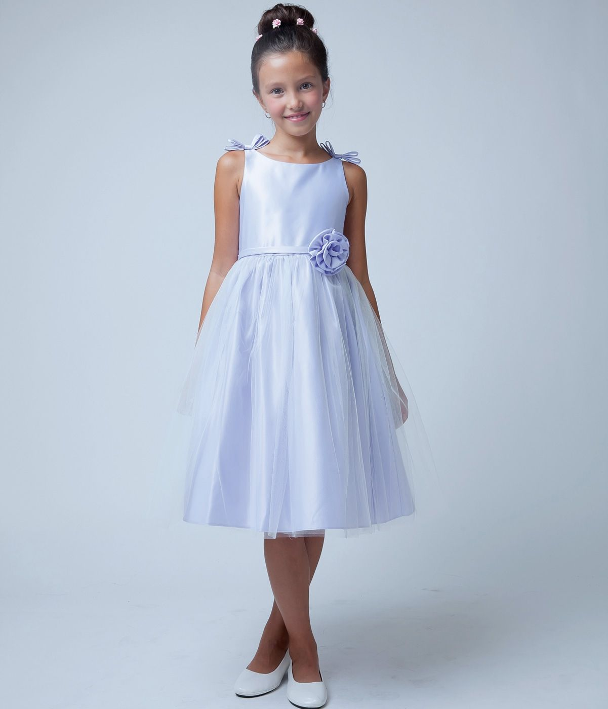 Lilac double bow satin and tulle for girl kids flower