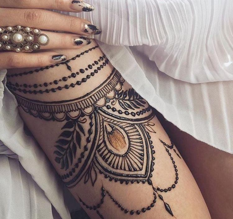 Ornamental Hamsa Mandala Tattoo Thigh Cuff Black Grey