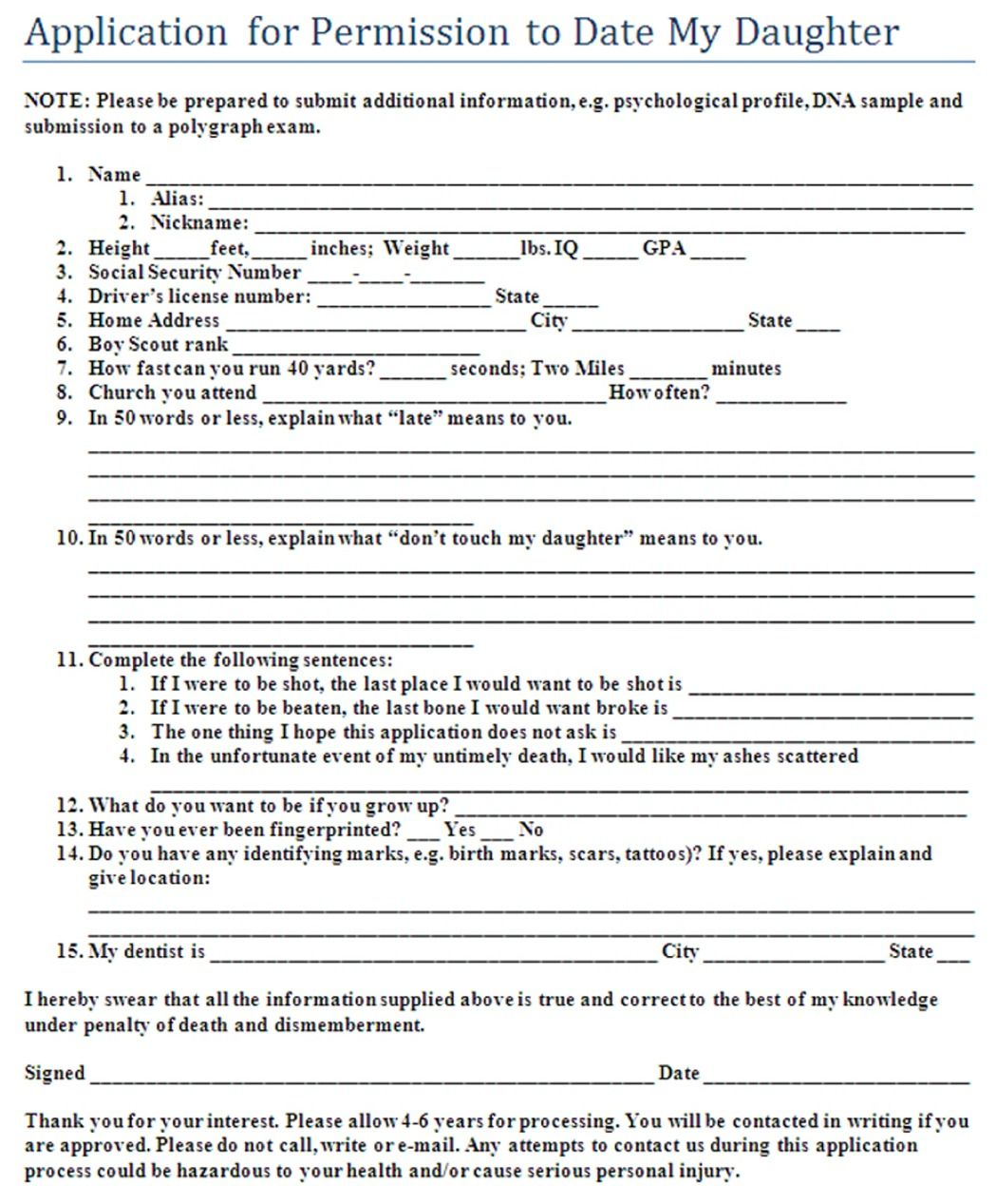 Dating my daughter application form