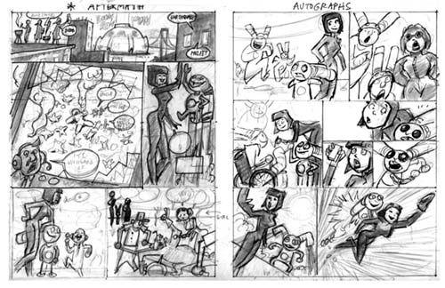 Rocket Rabbit Comic Book Rough Layouts, Nemu, Storyboards