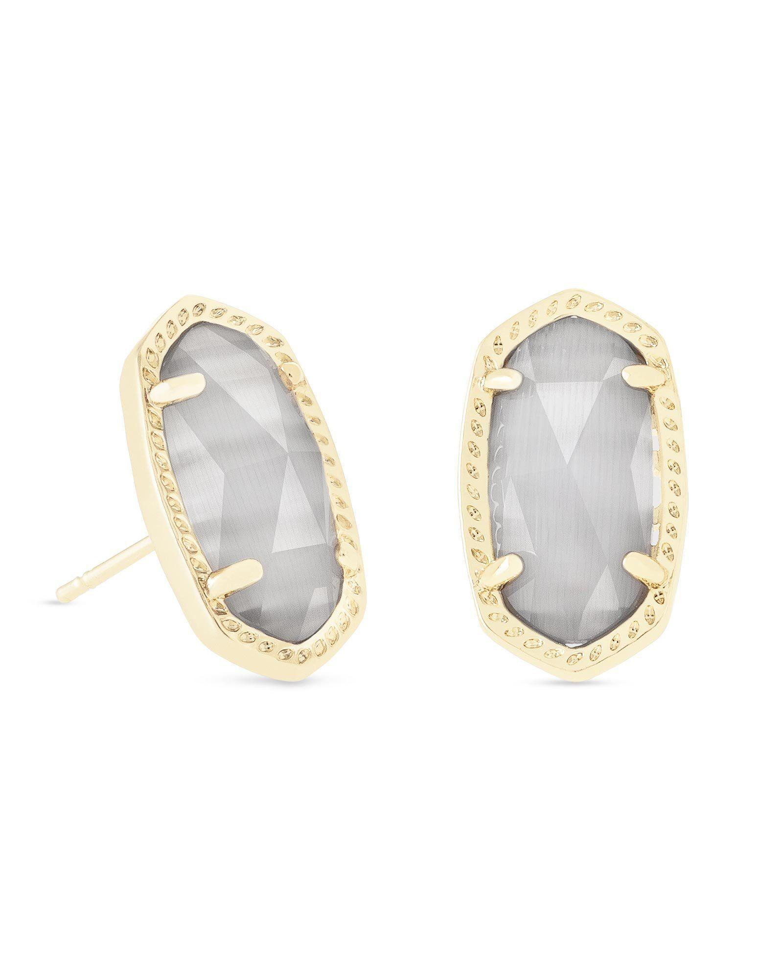 e828541c5 Kendra Scott Ellie Gold Stud Earrings In Slate Cats Eye   Products ...