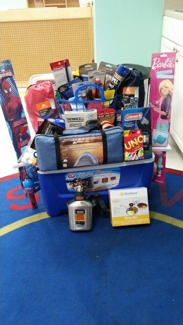 Classroom Raffle Ideas ~ Camping theme gift basket for the fall fun fest at my work