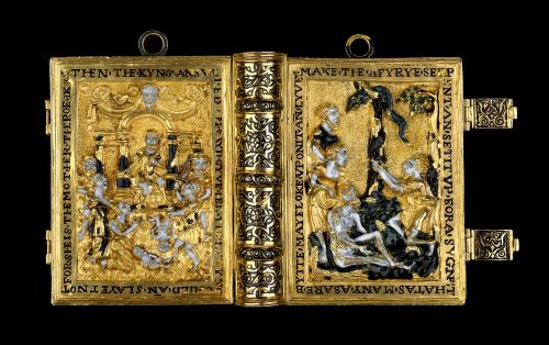 A girdle prayer book is a miniature prayer book enclosed within gold covers that is attached by long chains to girdle chains worn around the waist, almost as a conspicuous piece of jewellery. It was considered particularly fashionable for ladies of rank in the English court between around 1530 and 1560. The fashion may have originally been introduced into Henry VIII's England by the Spanish entourage of Queen Catherine of Aragon.