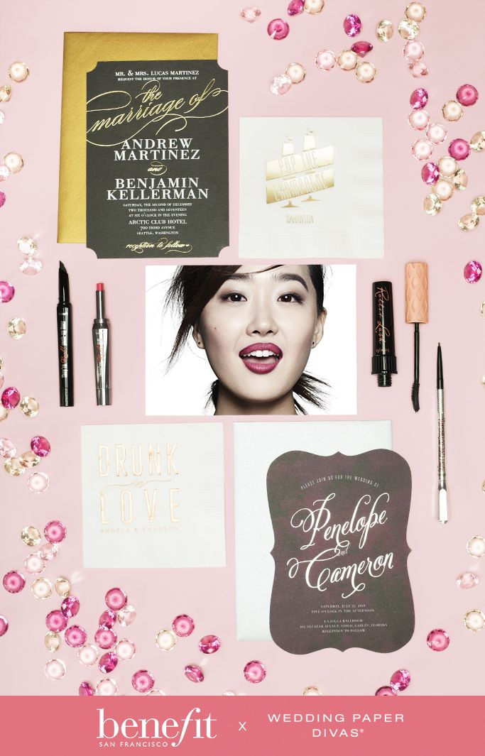 Get Inspired For Your Glam Themed Wedding With These Benefit Make Up Essentials And Dazzling Wedding Paper Diva I Benefit Cosmetics Wedding Paper Divas Wedding