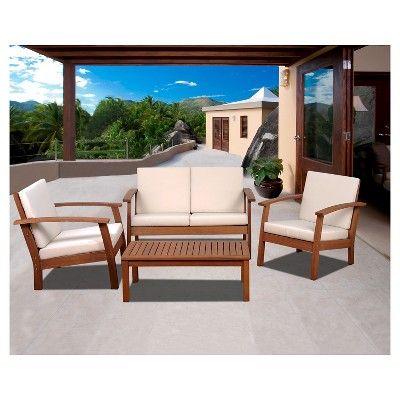 laguna beach 4 piece eucalyptus wood patio set with off white rh pinterest com