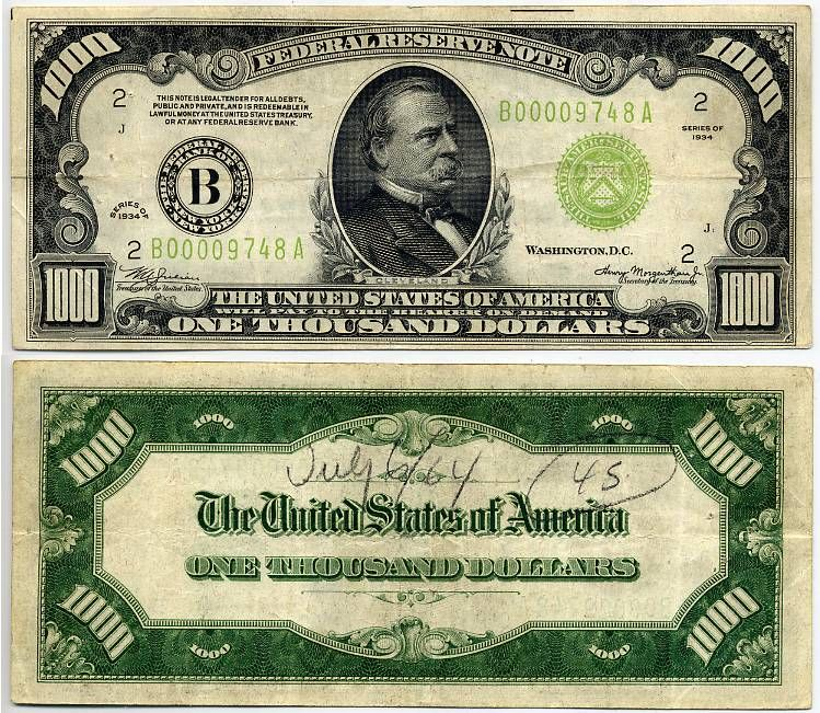 New U S Currency 1934 1000 Federal Reserve Note The York District