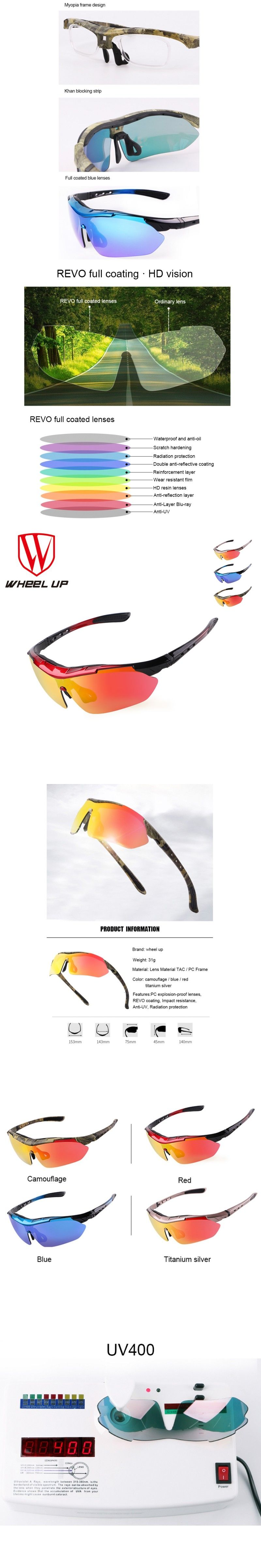 b7110d75f2 WHEEL UP Men Women Polarized Cycling Glasses UV400 Sport Sunglasses  Waterproof Full Coating MTB Road Unique