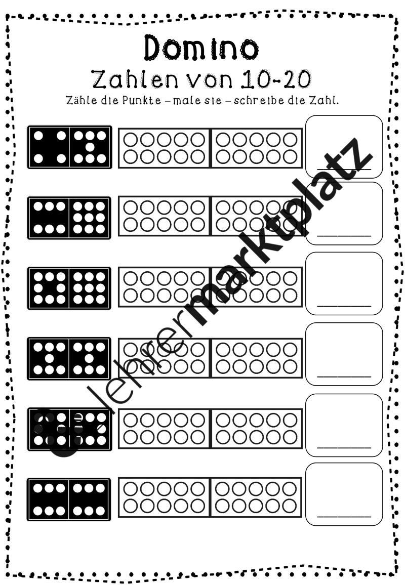 ZR 20 -Zahlendomino (Arbeitsblätter) – Mathematik   Mathe in der ...