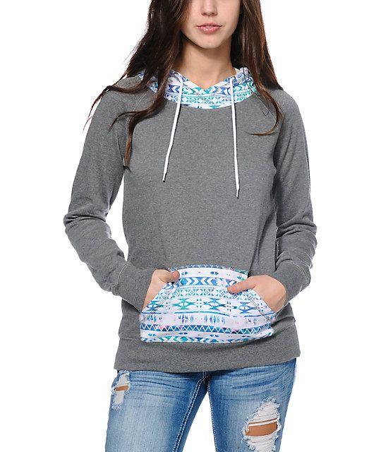 Empyre Larissa Grey & Multicolor Tribal Print Pullover Hoodie ...