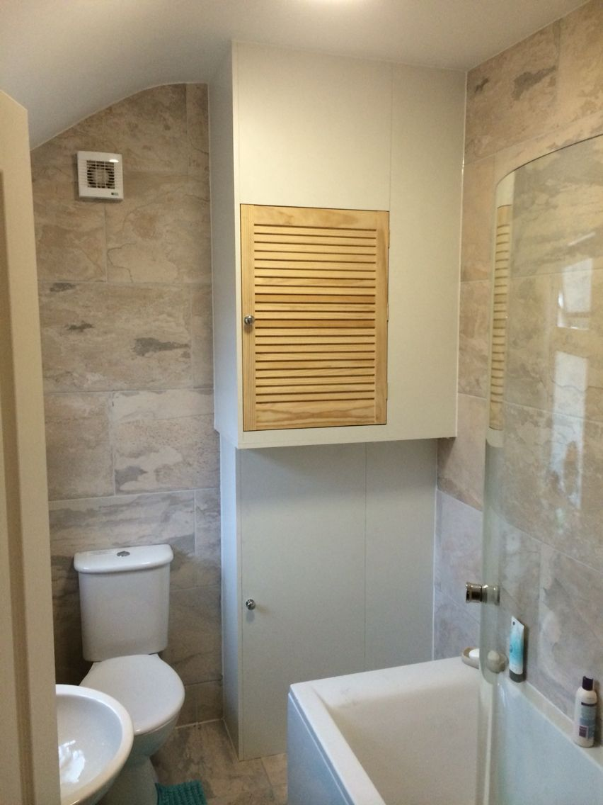 Built In Boiler Cupboard And Storage Unit Tiny Bathrooms Downstairs Toilet Home Storage Units