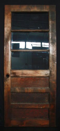 32 X76 Vintage Exterior Entry Side Back Solid Wood Door Window