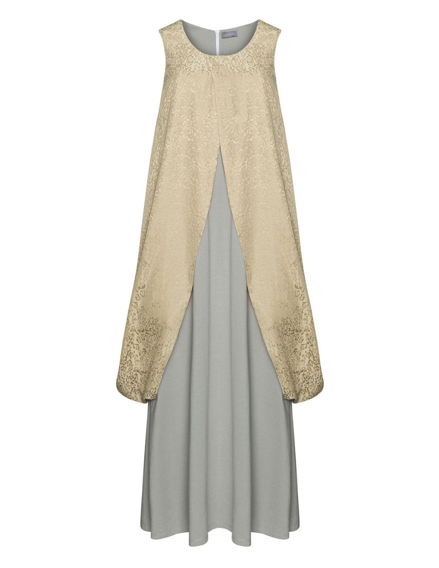 Yoona Jacquard cotton layered maxi in Light-Grey / Light-Green