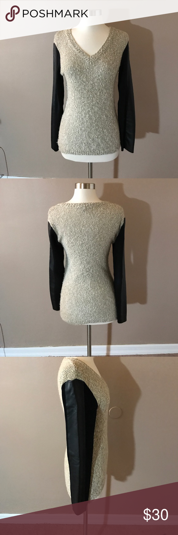 W118 by Walter Baker Leather Sleeve Sweater Oatmeal