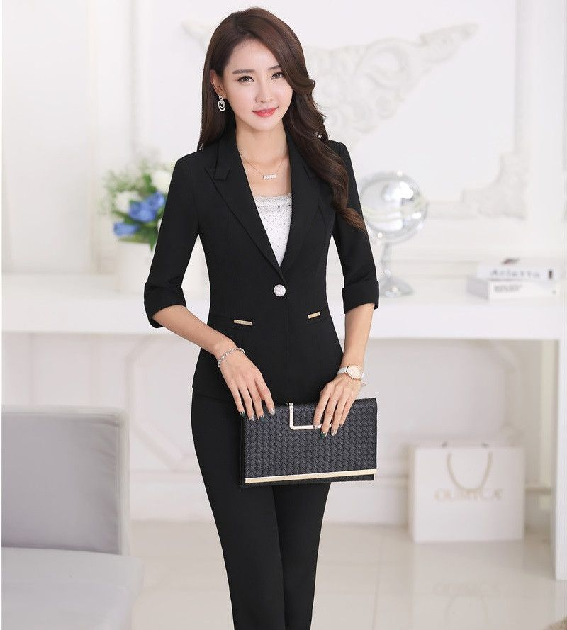 aa3b2aeba03 Formal OL Styles Professional Business Women Suits Jackets And Pants Spring  Summer Office Work Wear Pantsuits Ladies Outfits Set