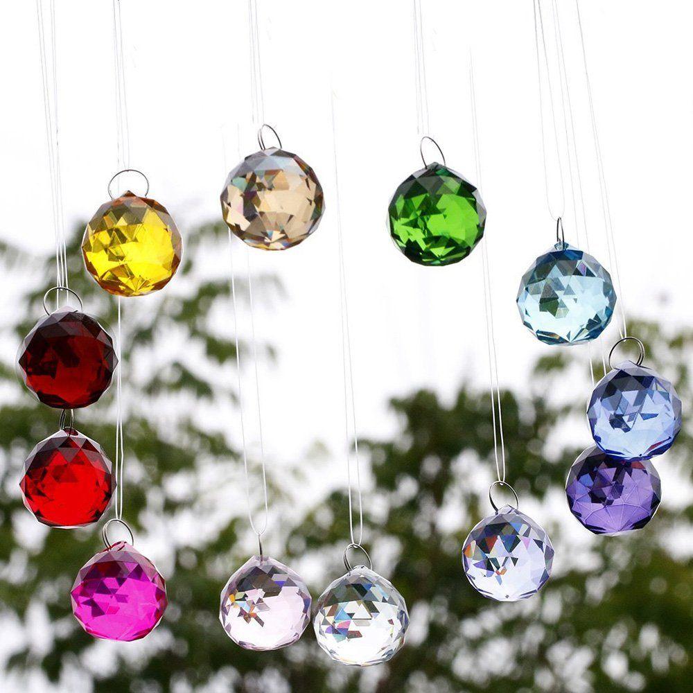 Hongville Fancy Crystal Ball Prisms Pendant Feng Shui Sun Catcher For Holiday Decorating Hanging 40mm Purple T Ball Lights Crystal Suncatchers Hanging Decor