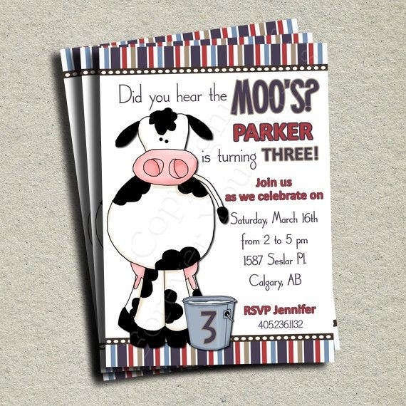 cow birthday invitation cow theme birthday by foreveryourprints