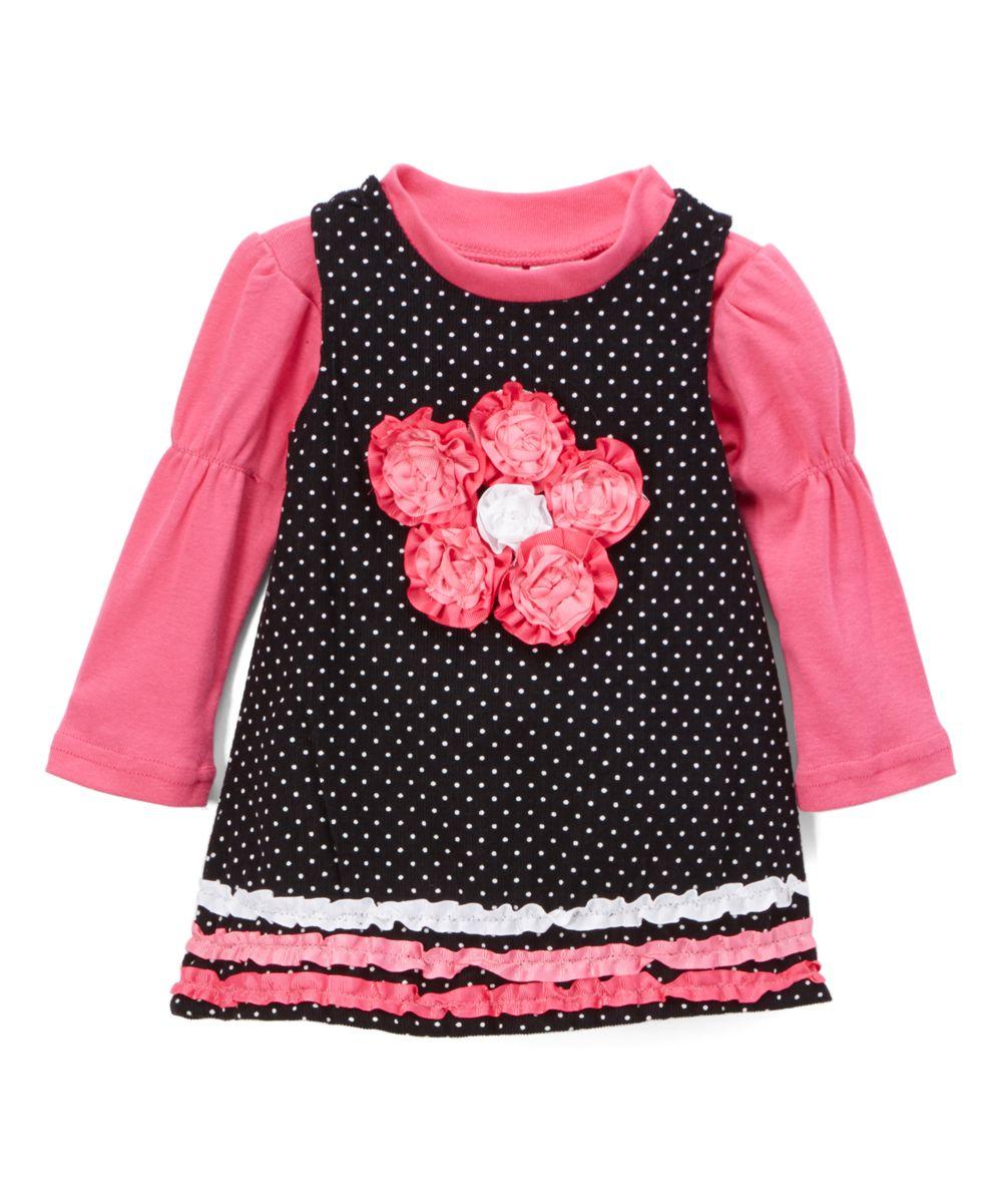 Black Pin Dot & Pink Floral Jumper & Mock Neck Top - Infant