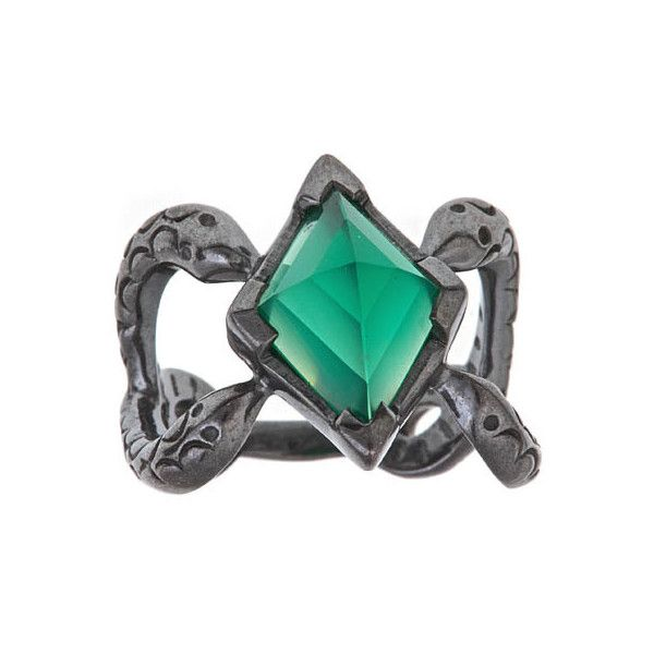Michael Spirito Green Onyx Snake Ring (470 BRL) ❤ liked on Polyvore featuring jewelry, rings, harry potter, accessories, slytherin, michael spirito jewelry, band jewelry, michael spirito, band rings and snake rings
