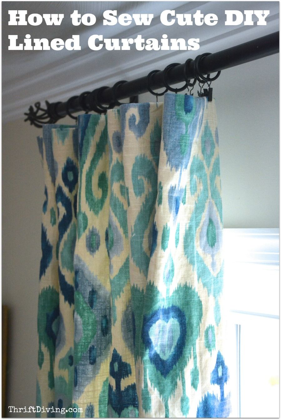 how to sew cute lined diy curtains diy curtains thrift and iron. Black Bedroom Furniture Sets. Home Design Ideas