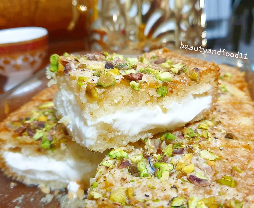 Chef Aseel On Instagram بسبوسة القشطة ولا الذ لا اسهل من حساب الجميله Beautyandfood11 كوب سميد كوب حليب بودر Dessert Recipes Food Desserts