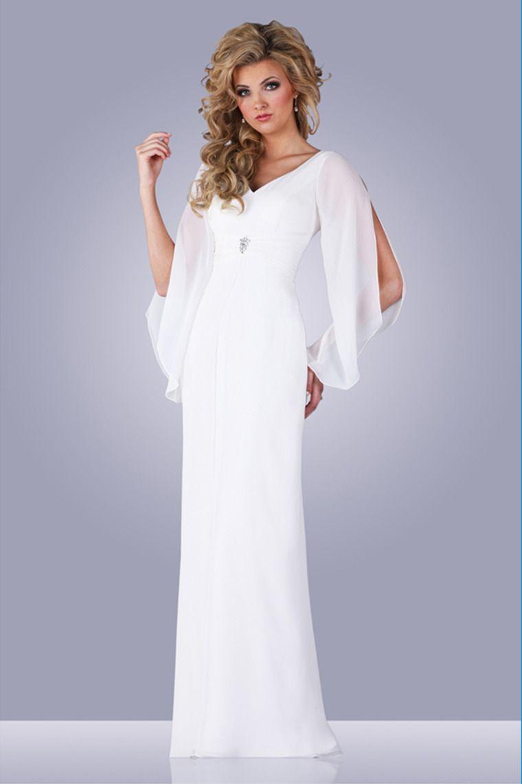 Long sleeve chiffon wedding dress   Long Sleeve SheathColumn Wedding Dress Chiffon Beaded And