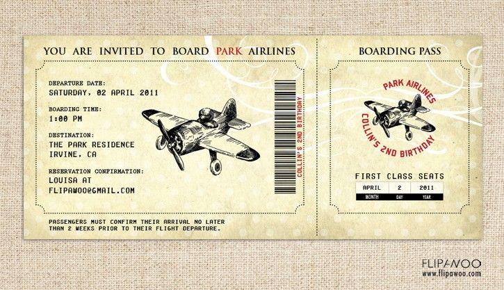 Vintage Airplane Birthday Invitation, Airplane Boarding Pass - best of invitation template boarding pass
