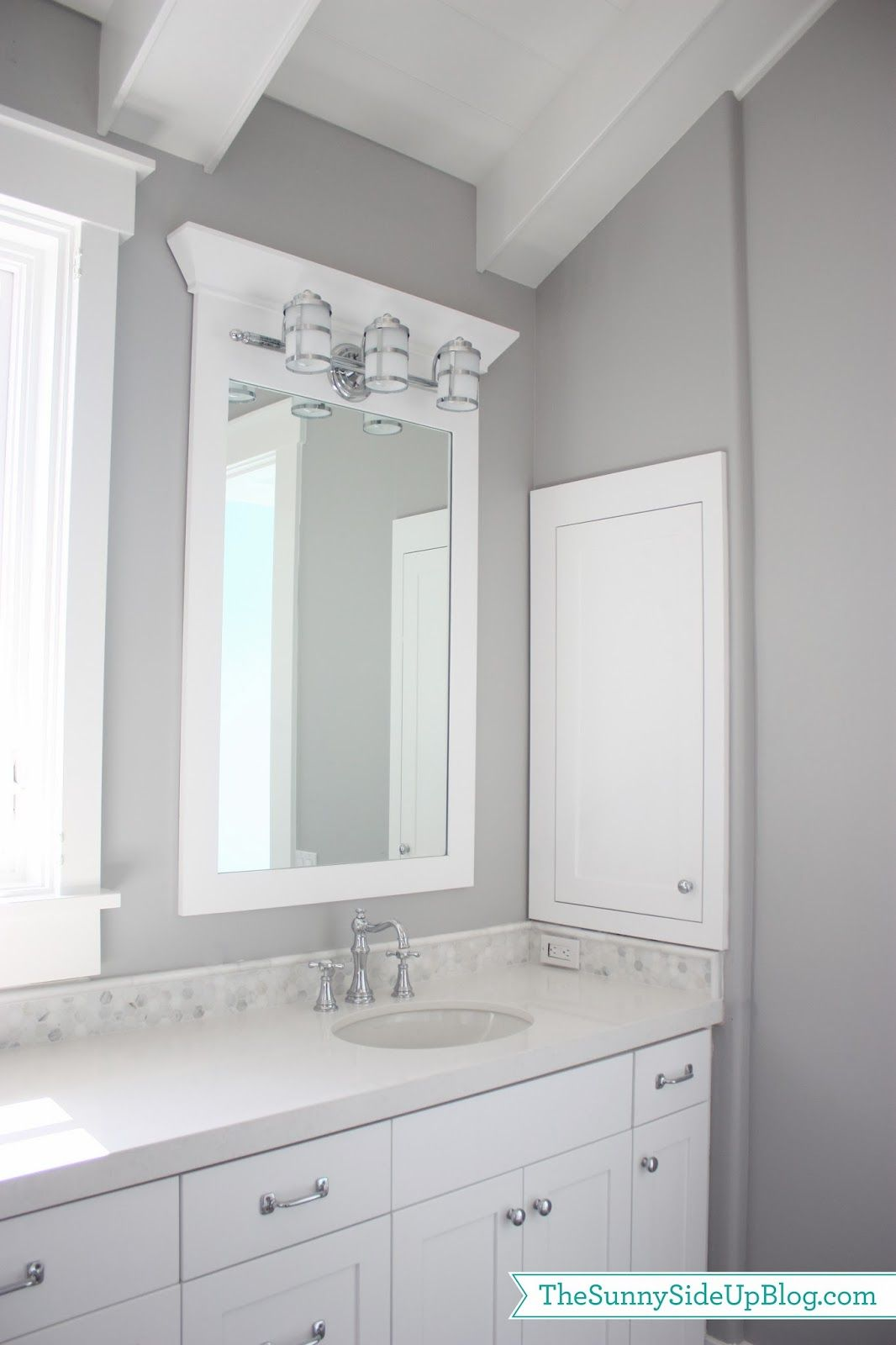 Sharing some pics of my girls' new bathroom today! Before I start overloading you all with pictures of the new house I need to warn you that you'll be seeing A LOT of white and grey. Obviously I love white cabinets and white moldings and grey paint, but I also did this because I love …