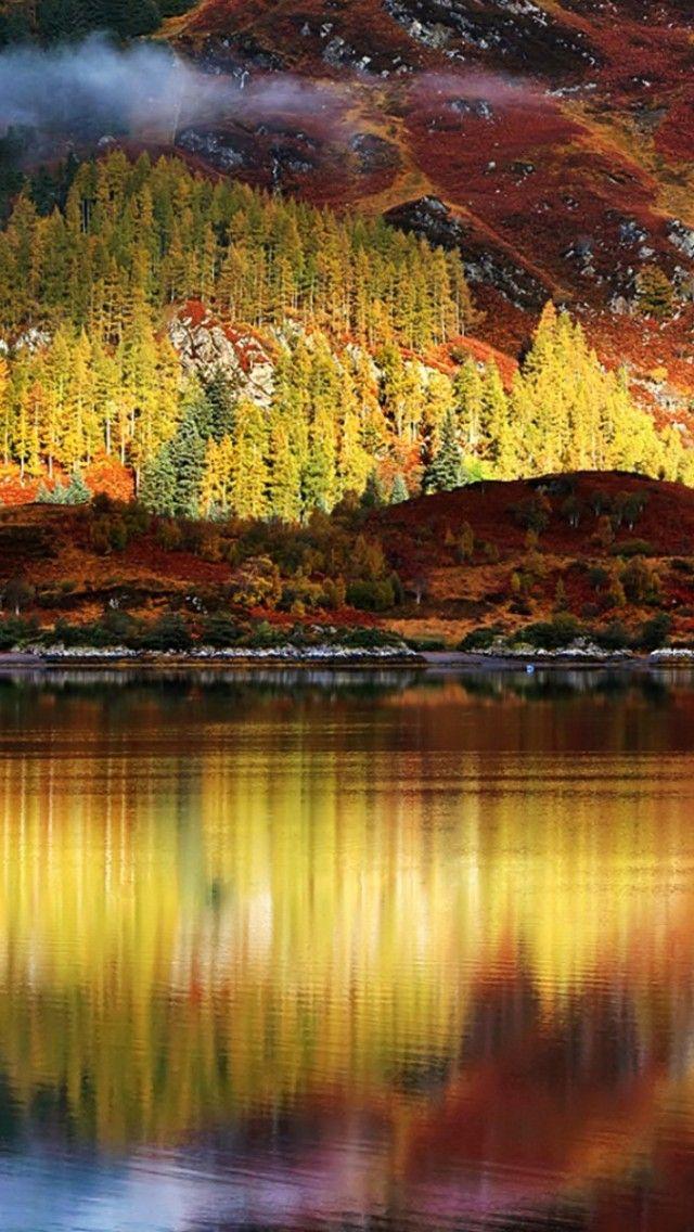 Autumn Lake Reflections Apple Iphone Wallpaper Nature Landscape Wallpapers Autumn Lake 3d Wallpaper Uk 3d Wallpaper