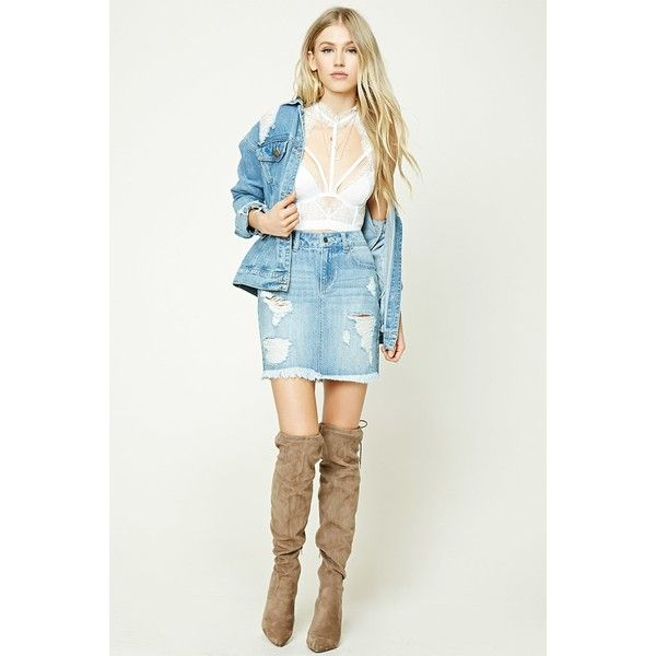 Forever21 Distressed Denim Mini Skirt ($20) ❤ liked on Polyvore ...