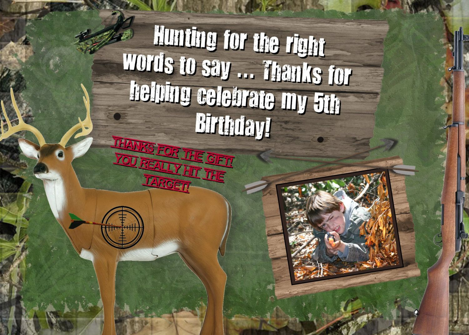 hunting thank you card photo boys birthday party theme