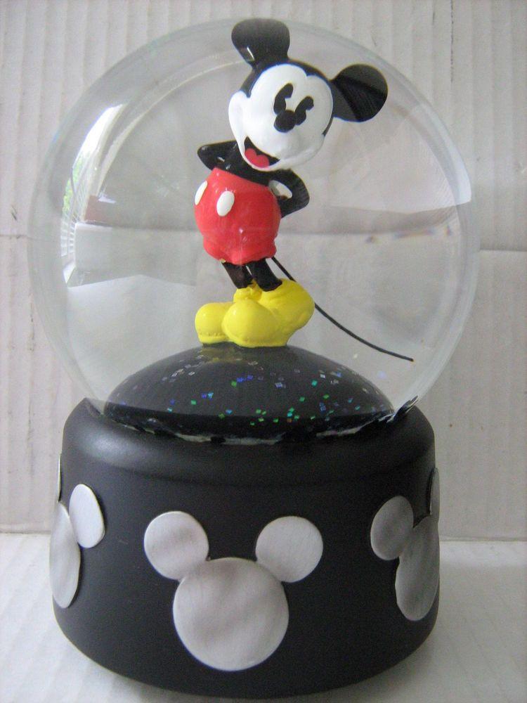 Vintage Walt Disney Mickey Mouse Musical Snowglobe Snow Globe Snow ...
