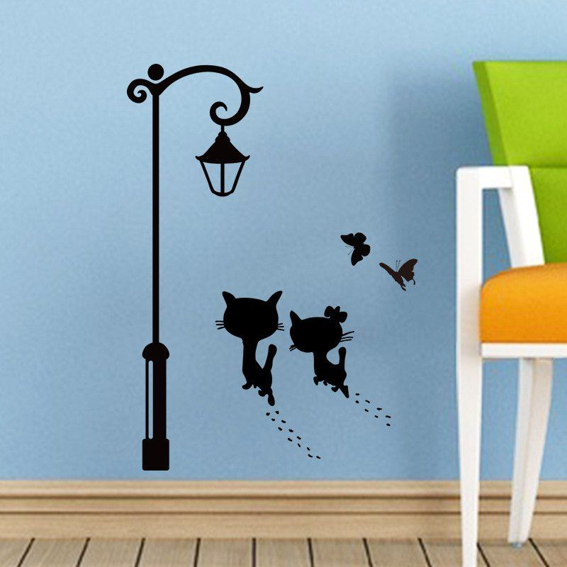 The Cat Under Streetlight Pattern Removable Wall Sticker Ad Ad