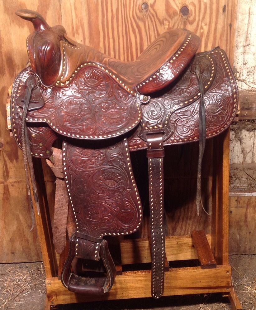 Western saddle chair - Vintage Hereford Brand Western Saddle With Back Rigging 15 Inch Seat
