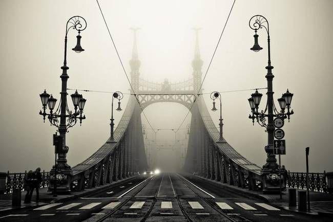 Budapeste é realmente composto de duas seções, Buda e Peste, e esta é a ponte que conecta-os através do rio Danúbio. Os quatro mastros, pouco visível aqui no nevoeiro, são cobertas com o Turul, um falcão que apresenta na mitologia húngara.