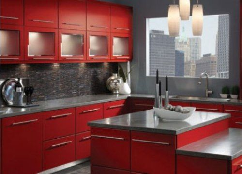 Fascinating Kitchen Remodel Ideas Inspiration: Brilliant Contemporary  Kitchen Remodel Ideas Decorated With Red Cabinet Furniture And Grey Co.