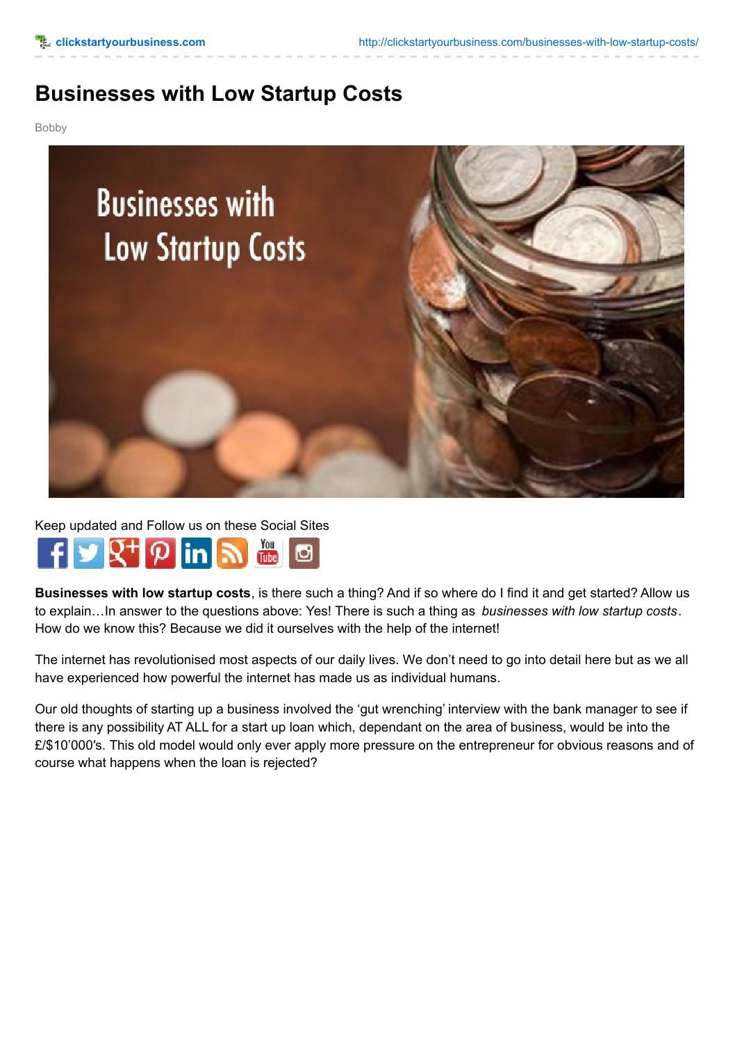 Businesses with low startup costs Start up, Business, Low