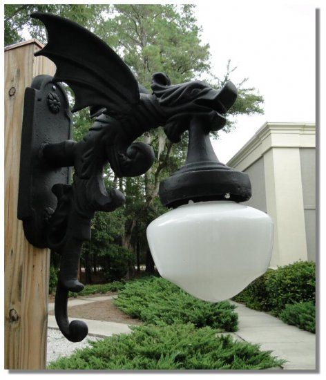 Victorian Replica Gargoyle Outdoor Light Fixture By