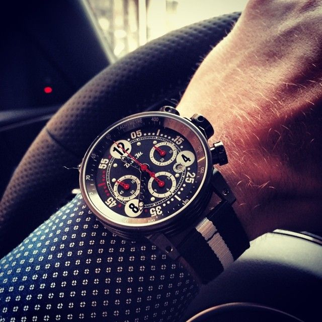 adrientambay Wearing my new BRM Tambay limited edition today! 14 pieces to sell in 2014, you can contact me private if interested!! It is mega :) Je porte ma nouvelle BRM Tambay edition limitée à 14 exemplaires pour 2014. Contactez moi en privé si interessé, elle est vraiment top!! #BRM #Manufacture #Tambay #limited #watch #welcomechallenges
