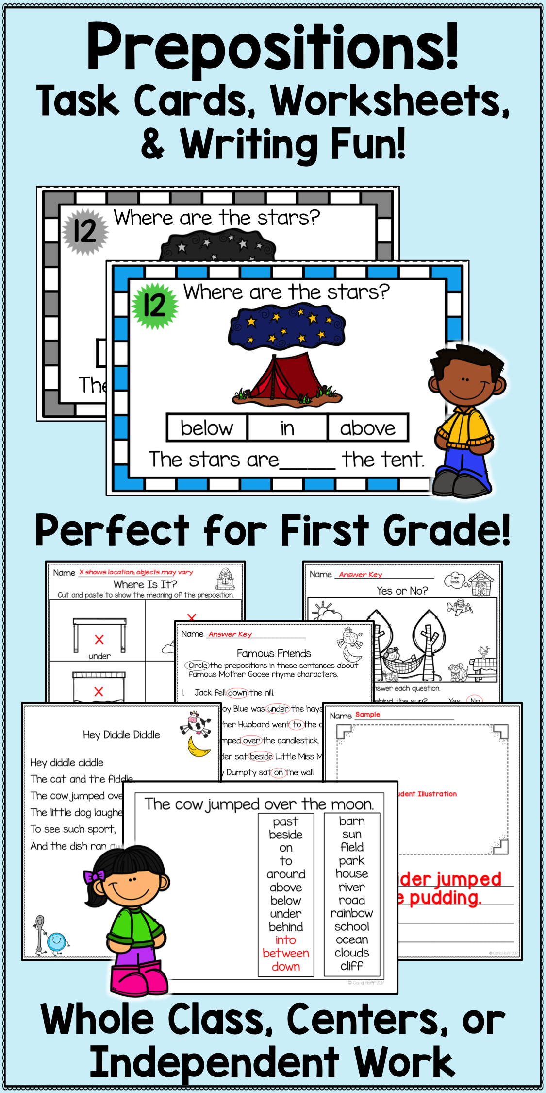Prepositions Task Cards Worksheets Amp Writing