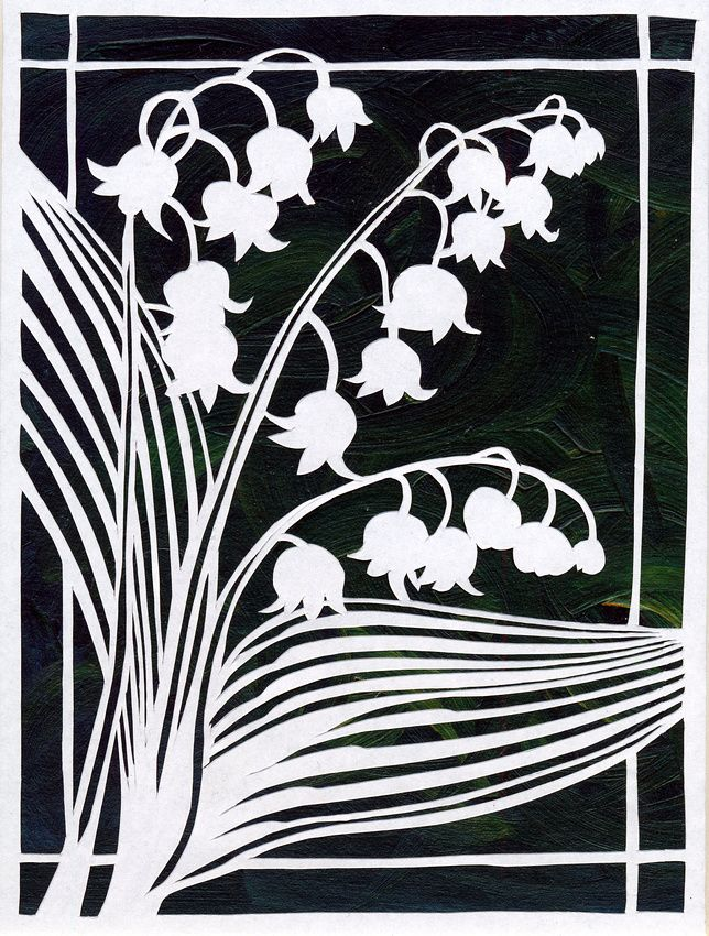 Lily Of The Valley Woodcut Art
