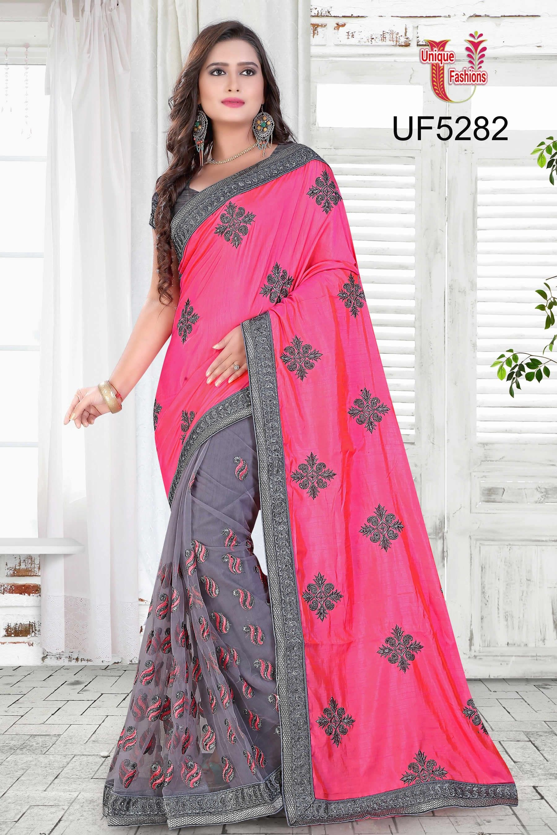 buy saree online Pink and Grey Colour Faux Silk and Georgette Resham ...