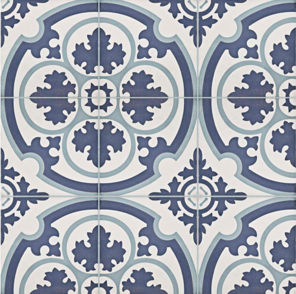 Blue and White Cement Tile and Vinyl Flooring Options ...