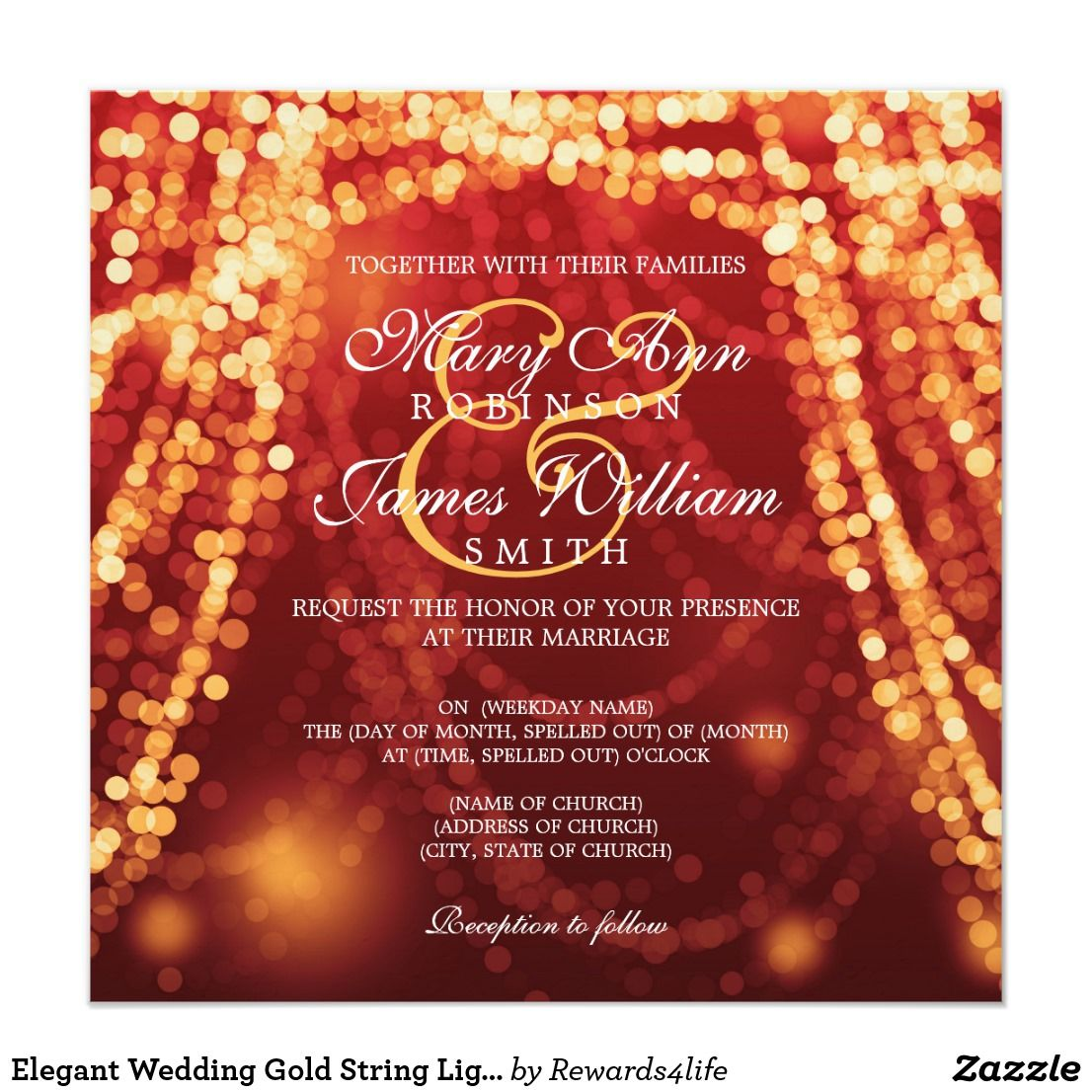 Elegant Wedding Gold String Lights Invitation | { Wedding ...