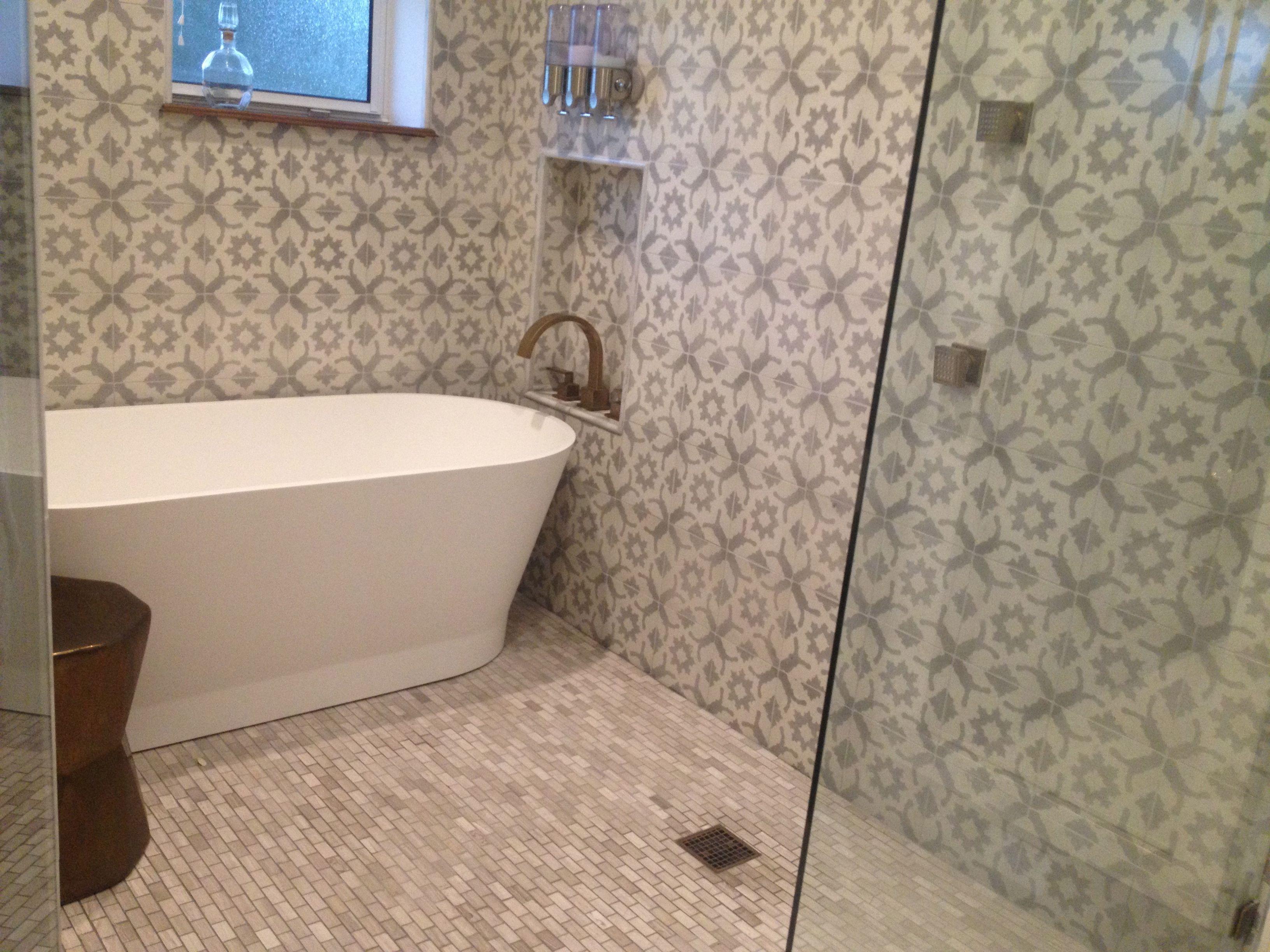 Bathroom renovation encaustic tile cuban tile large for Wet wall bathroom design