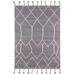 Photo of Handgefertigter Kelim-Teppich Trumbull aus Wolle in Grau