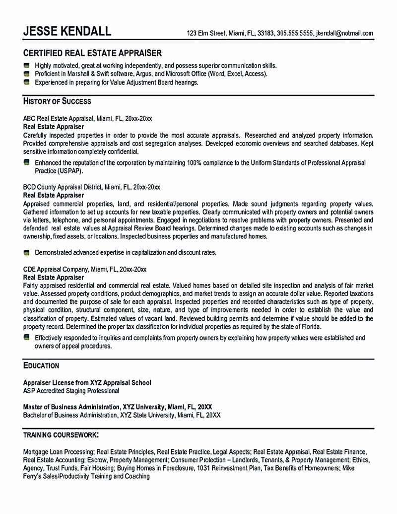 Entry Level Real Estate Agent Resume Inspirational Real