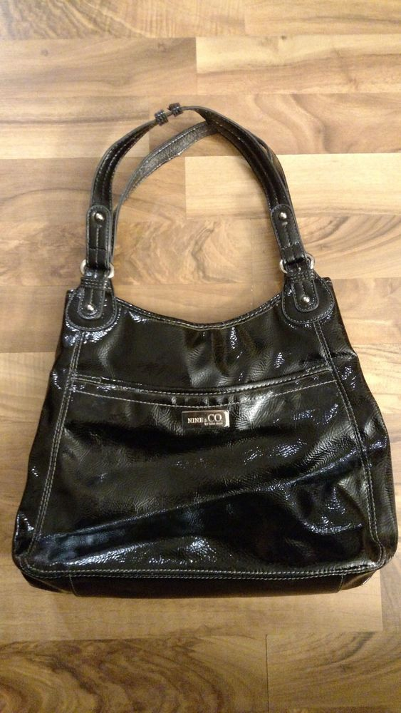 Nine Co By West Classic Shiny Black Handbag Purse Bag Lots Of Storage For At Neat And Nice Ninewest Fashion