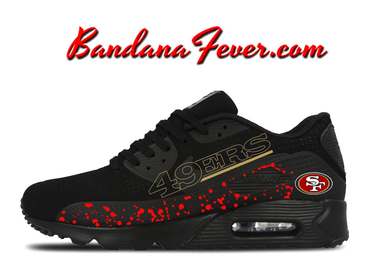 Copy of Custom Chiefs Nike Air Max 90 Shoes Black dd1e240cec